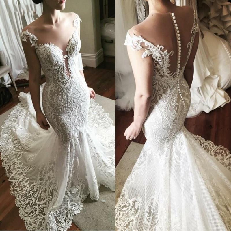 فستان زفاف عتيق مثير على شكل حورية البحر ، بظهر شفاف ، تول ودانتيل ، فاخر ، مقاس مخصص