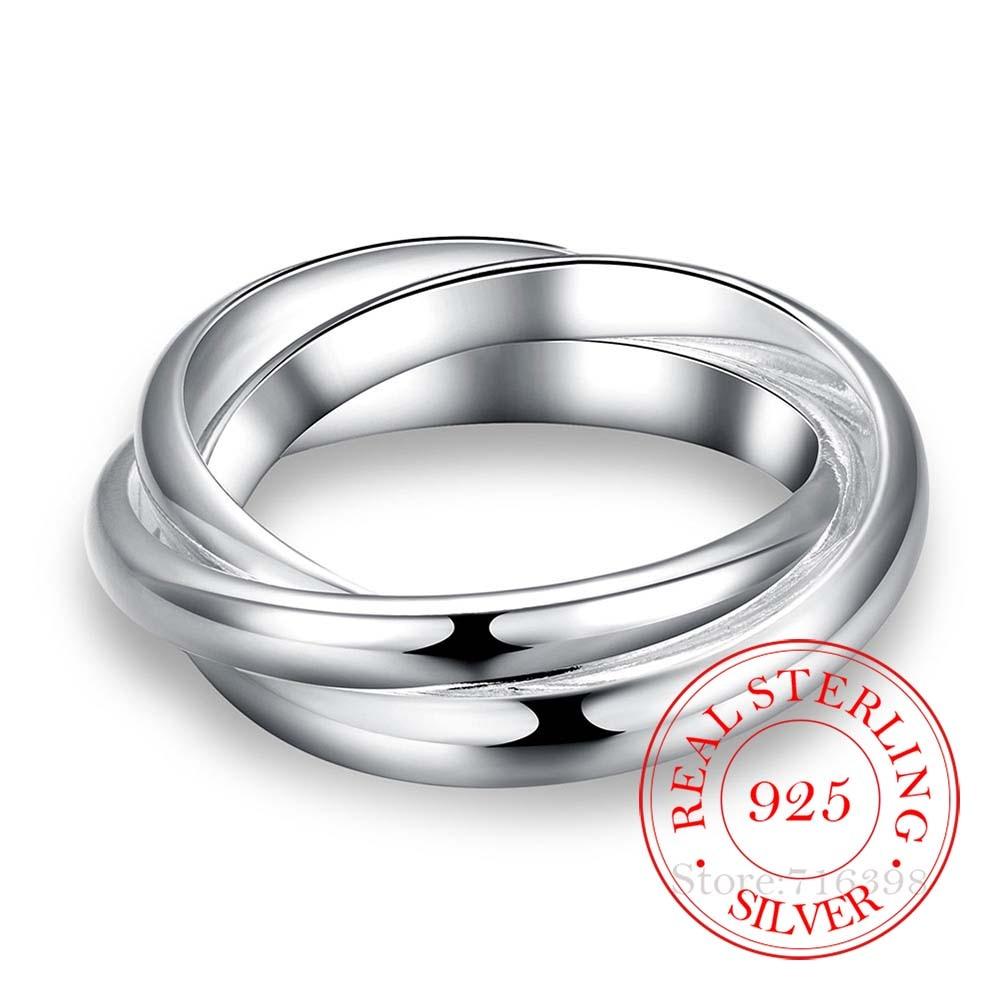AliExpress - 925 Sterling Silver Jewelry Three Circles Couple's Wedding Silver Rings for Women Men New Beautiful Fashion Anel De Prata Bijoux