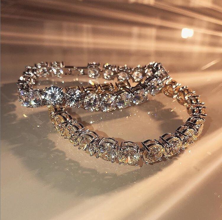 Hip Hop Vintage Jewelry 925 Sterling Silver 8MM Round Cut White Topaz CZ Diamond Tennis Bracelet Women Wedding Men Bracelet