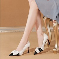 dh7 Super High Heels Patchwork Pumps Women Dress Shoes Buterfly Knot Mixed Color Pointed Toe Boat Shoes Square Heeled