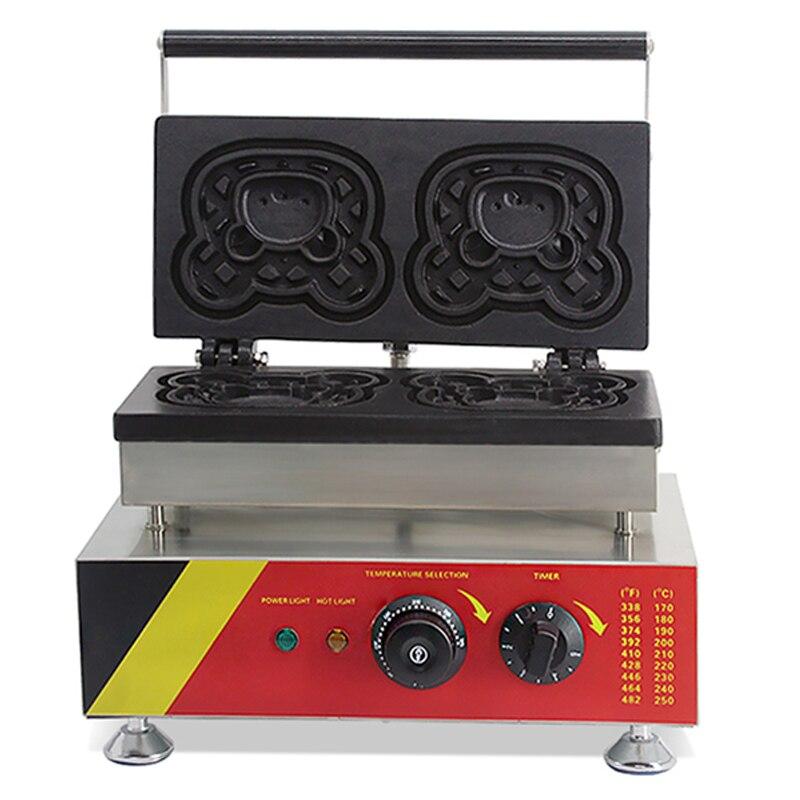 NP-523 de acero inoxidable para hacer gofres máquina lindo oso forma Waffle máquina Muffin nuevos calle postre Comercial 110 v/220 v