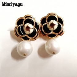 Mimiyagu design famoso flor dourada pérola brinco para mulher na moda jóias