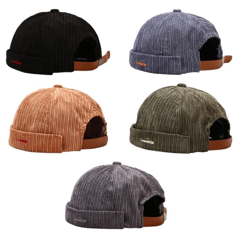 X5XD Vintage Docker Brimless Corduroy Unisex Adjustable Hip Hop Beanie Hats Corduroy Made Solid Colo