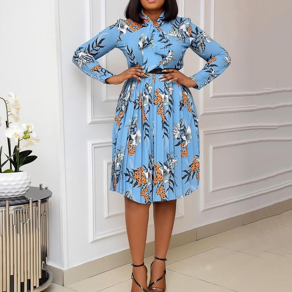 Print Women Pleated Dress Plus Size 3xl Color Block Bow Collar Long Sleeve Mid-Calf Swing African Dress Work Vestidos Robes
