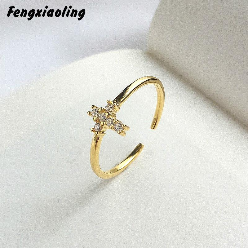 Fengxiaoling Real 925 Sterling Silver Multiple Zircons Cross Open Rings For Women European Style Golden Rings Elegant Jewelry