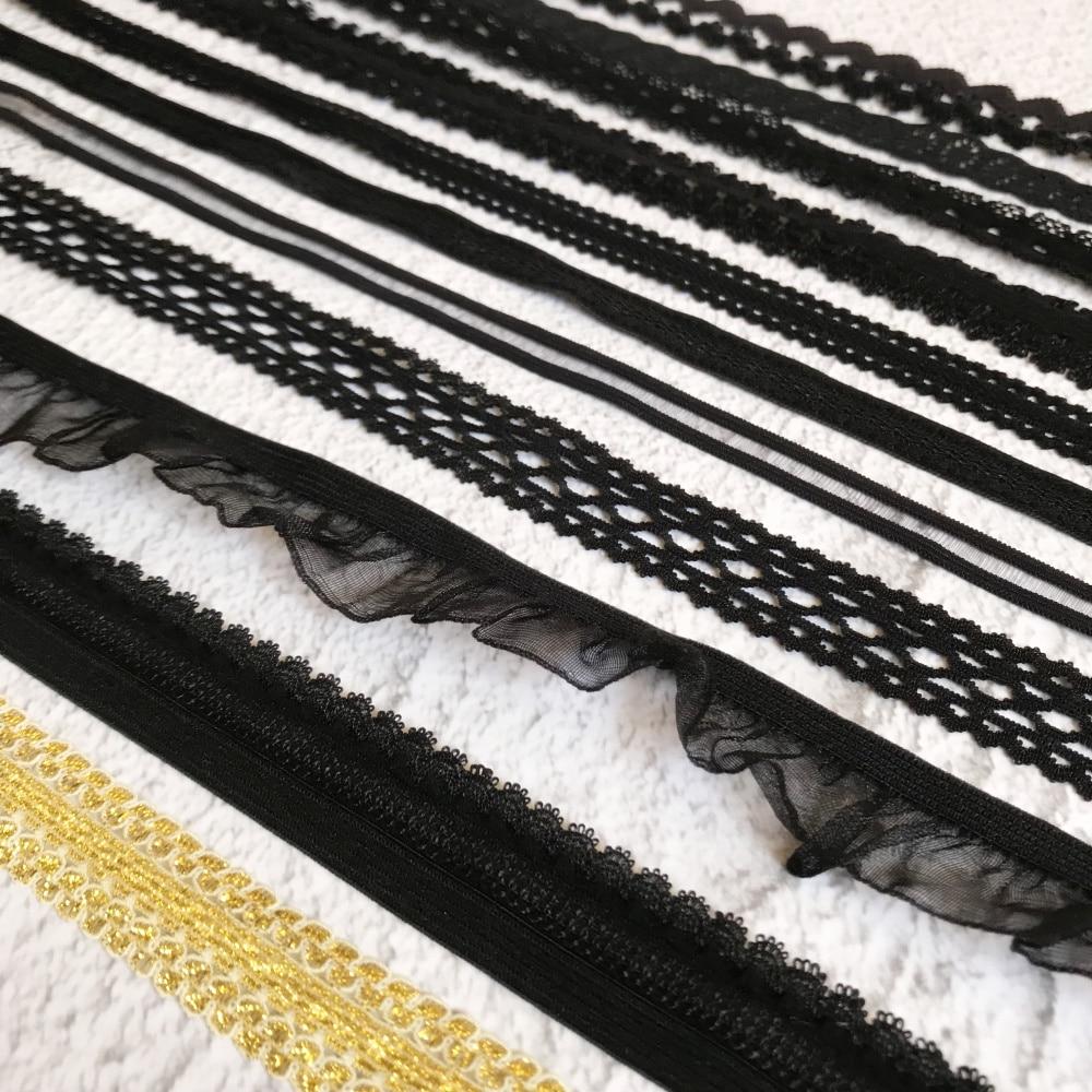 ¡Caliente! 9mm a 22mm de ancho negro blanco elástico negro blanco cinta de ajuste de encaje para costura artesanía ropa interior decoración encaje hecho a mano