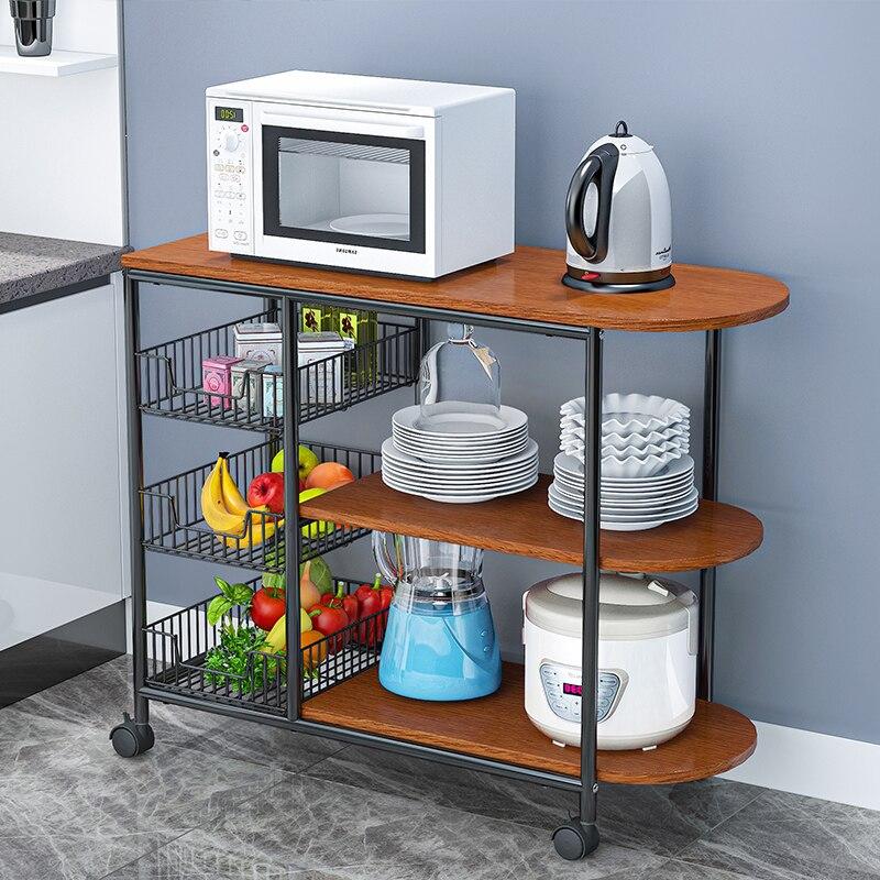 المطبخ الجدول رف مع عجلة الطابق 3 طبقة التوابل رف كونترتوب الميكروويف رف المنزلية الخضار سلة تخزين الرف