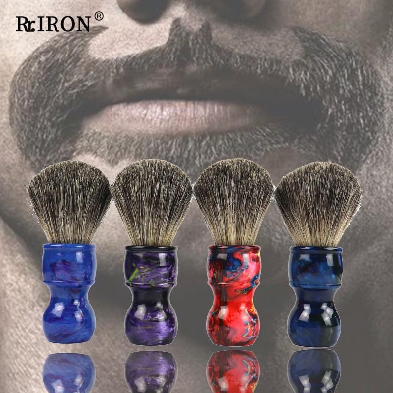 Мужская кисть для бритья RIRON, кисть для бритья из барсука, с резиновой ручкой, для профессионального салона, для влажного бритья