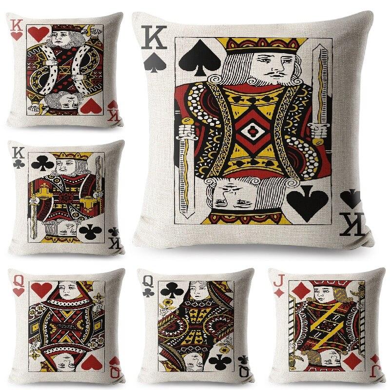 Poker Kissen Abdeckung König Königin und Jack Gedruckt Kissen Abdeckung Wohnzimmer Sofa Dekorative Werfen Kissen Hause Dekoration Kissenbezug