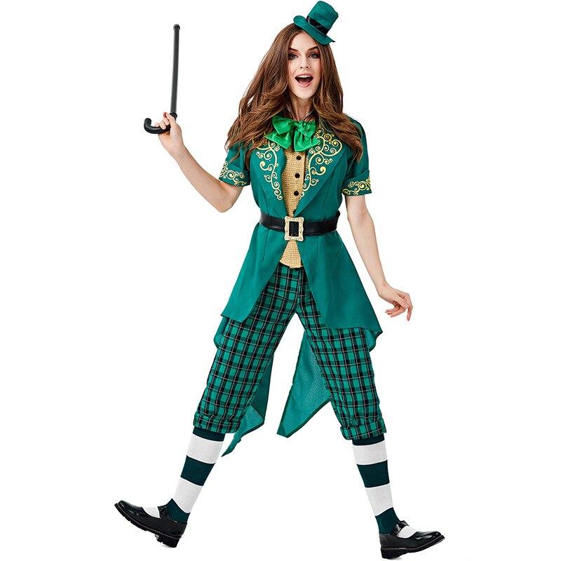 Adulto St Patricks suerte irlandesa duende verde mago esmoquin de la mujer de Halloween Mardi Gras de Carnaval traje de fiesta