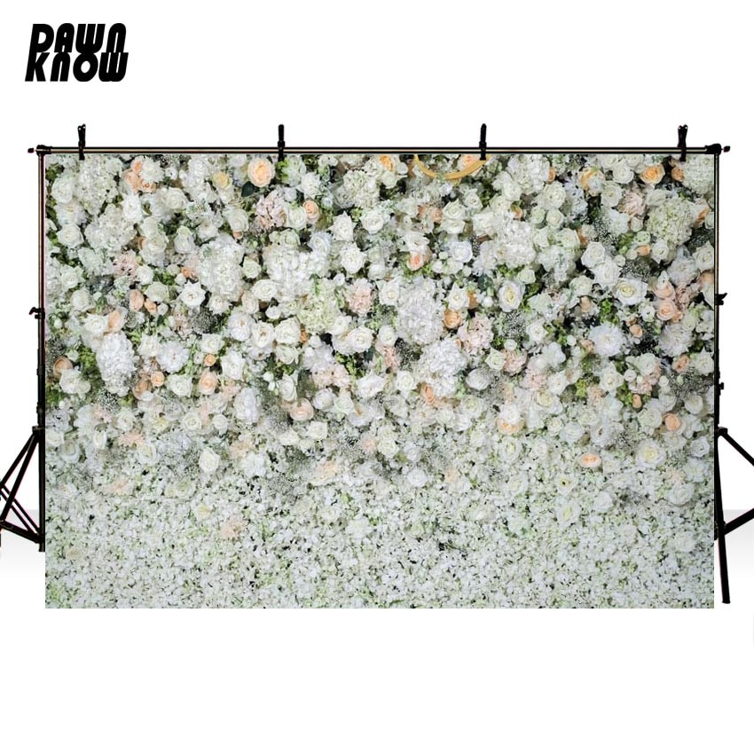 DAWNKNOW Floral Wall Vinyl Photography Background For Baby Flower New Fabric Polyester Backdrop For Wedding Photo Studio G604