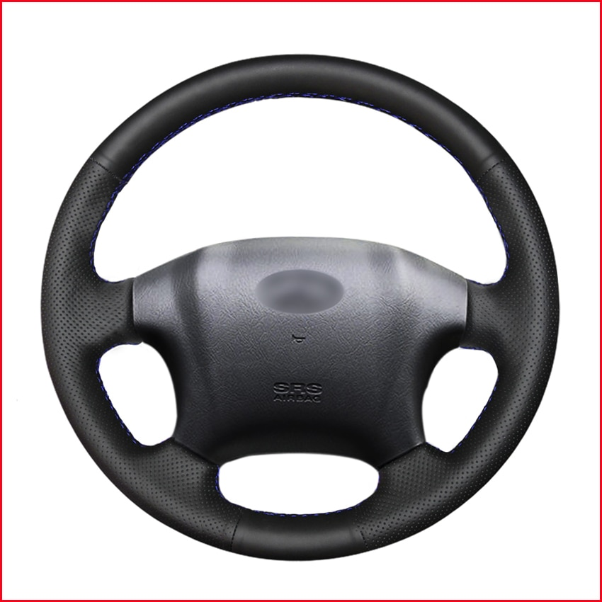 Cubiertas de volante de coche de cuero Artificial, color negro de punto, para Hyundai Tucson 2006 2007 2008 2009 2010 2011 2012 2013 2014