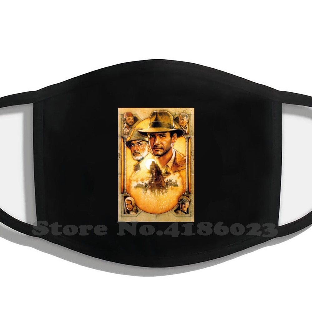 Indiana Jones And The Last Crusade Design Black Breathable Reusable Mouth Mask Indiana Jones Sean Connery Harrison Ford 80S