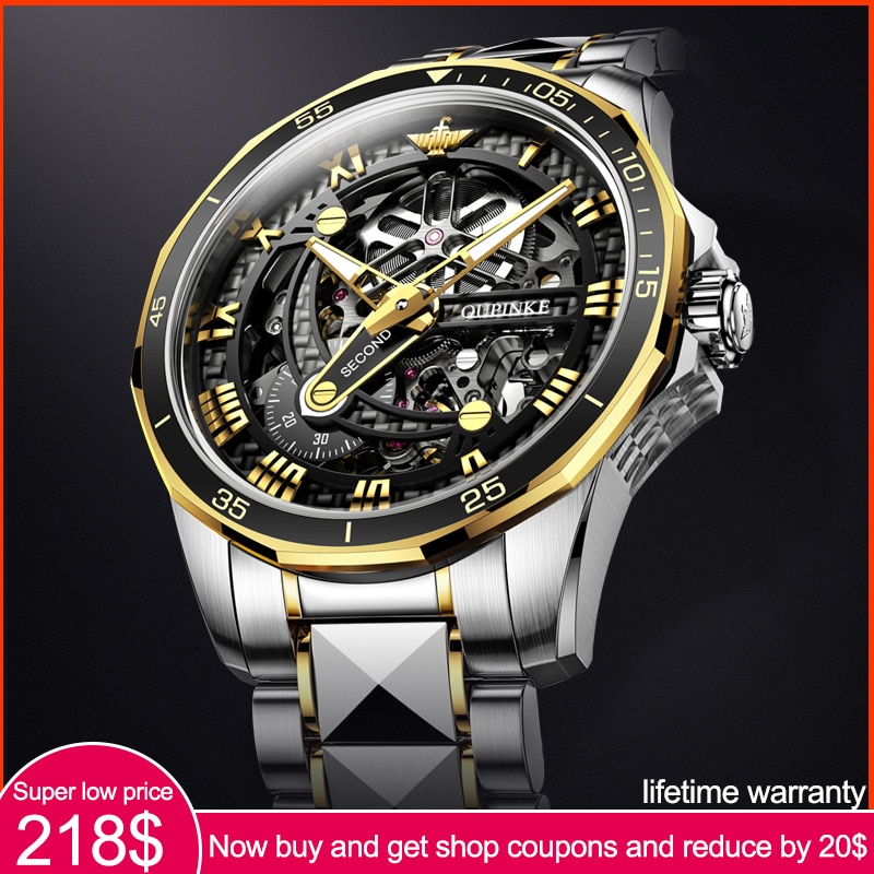 Top Brand OUPINKE Luxury Men's Mechanical Wristwatch Automatic Watch Men Classic Skeleton tungsten s