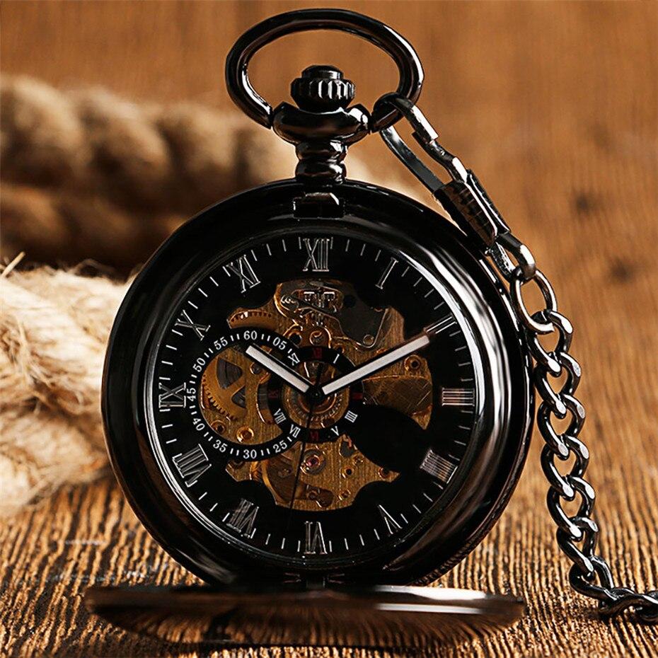 Reloj con números romanos de cuerda automática de Reloj de bolsillo mecánico antiguo, cadena colgante, colgante de cazador liso hueco, reloj