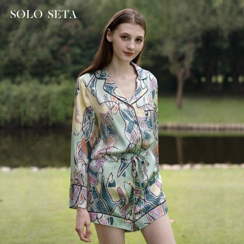 Soloseta-طقم شورت بيجامة من الحرير للنساء ، ملابس صيفية ، ملابس منزلية مطبوعة من قطعتين