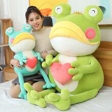 Nouveau Huggable grande souris grenouille avec coeur en peluche doux en peluche dessin animé Animal longues jambes couronne grenouille poupée chambre décor enfants cadeau
