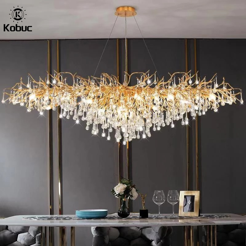 Kobuc الفاخرة الذهب كريستال LED الثريا فيلا كبيرة الشمال بريق قلادة مصباح لغرفة المعيشة فندق قاعة ديكور فني الإضاءة