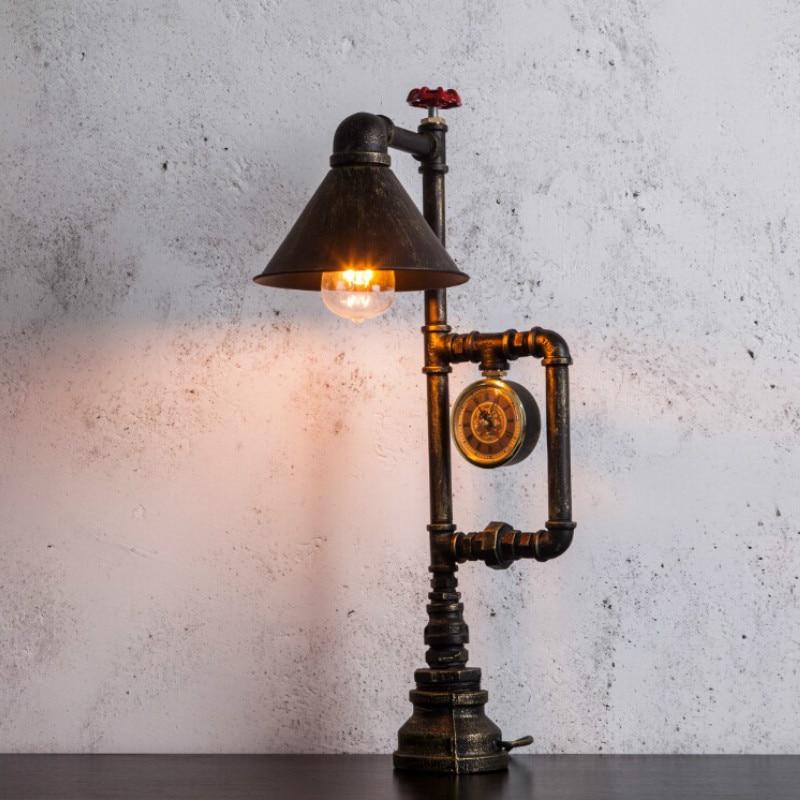 LoftJI-مصباح مكتب LED صناعي ، أنبوب حديدي مبتكر ، حماية للعين ، شريط على الطراز الأمريكي القديم ، باهتة ، مصباح طاولة ، WF1113