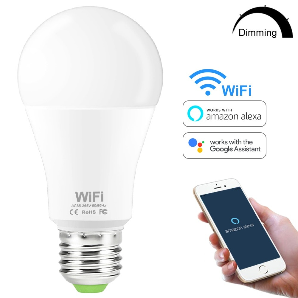 15W Smart WiFi Light Bulb E27 B22 Dimmable LED Lamp APP Smart Wake up Night Light Compatible with Am