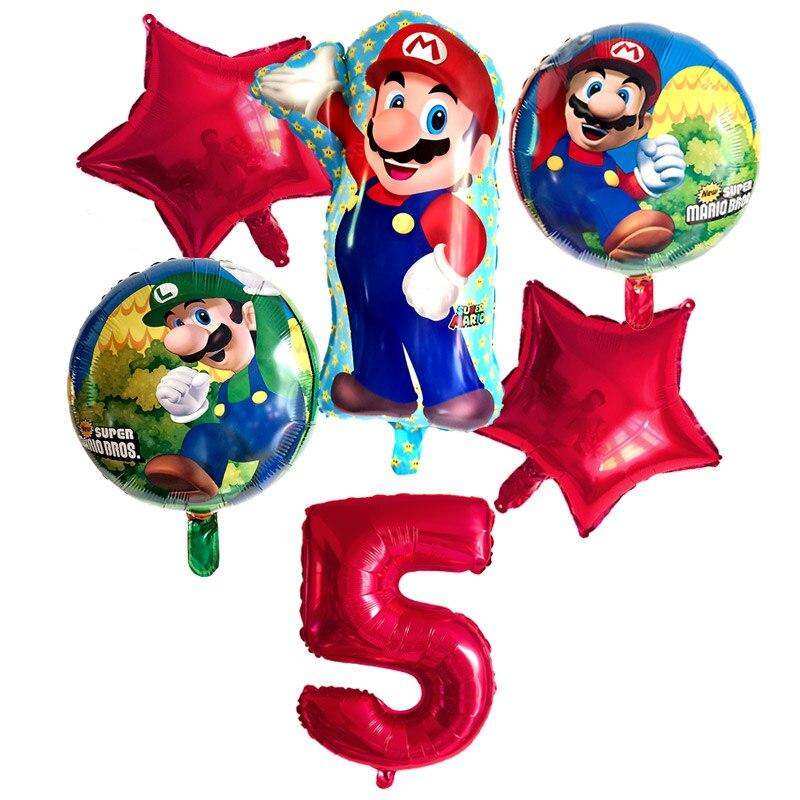 """6 шт воздушные шары """"Супер Марио"""" 32 дюймов Количество воздушных шаров для мальчиков и девочек, День рождения Братья Марио и Луиджи, майларовая упаковка, синий и красный цвета набор воздушных шариков с Декор"""