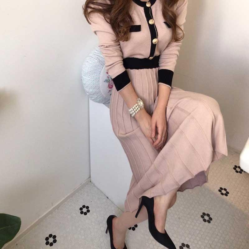 Senhoras coreanas vestido de camisola de malha de uma peça de manga longa das mulheres vestidos plissados 2020 inverno moda senhora vestido de malha vestido longo