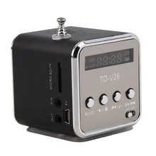 TD-V26 portatif dalliage daluminium Mini haut-parleur Portable numérique LCD son Micro SD/TF FM Radio musique stéréo haut-parleur pour ordinateur Portable