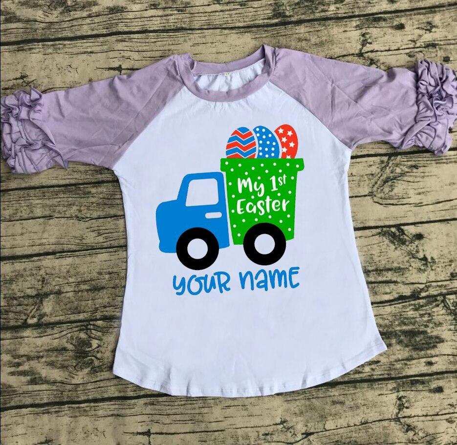 طفلة ملابس الفتيات الربيع قميص الفتيات عيد الفصح أعلى شاحنة قميص الفتيات البيض raglans بالجملة