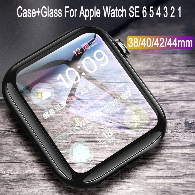 screen protector case for apple watch 5 case with glass cover for apple watch series 5 4 44mm 42mm iwatch 3 2 1 42mm protector Glass+Cover For Apple Watch 44mm 40mm 42mm 38mm iWatch Case Accessorie Bumper+Screen Protector For Apple watch Serie 1 2 3 4 5 6