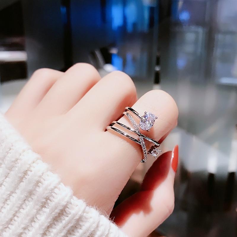 Anillo de diamantes de imitación abierto multicapa para mujer, japonés y coreano...
