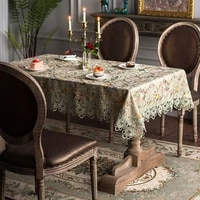 home decor garden style dinner tablecloth outdoor jacquard embroidered patch work square table runner covers