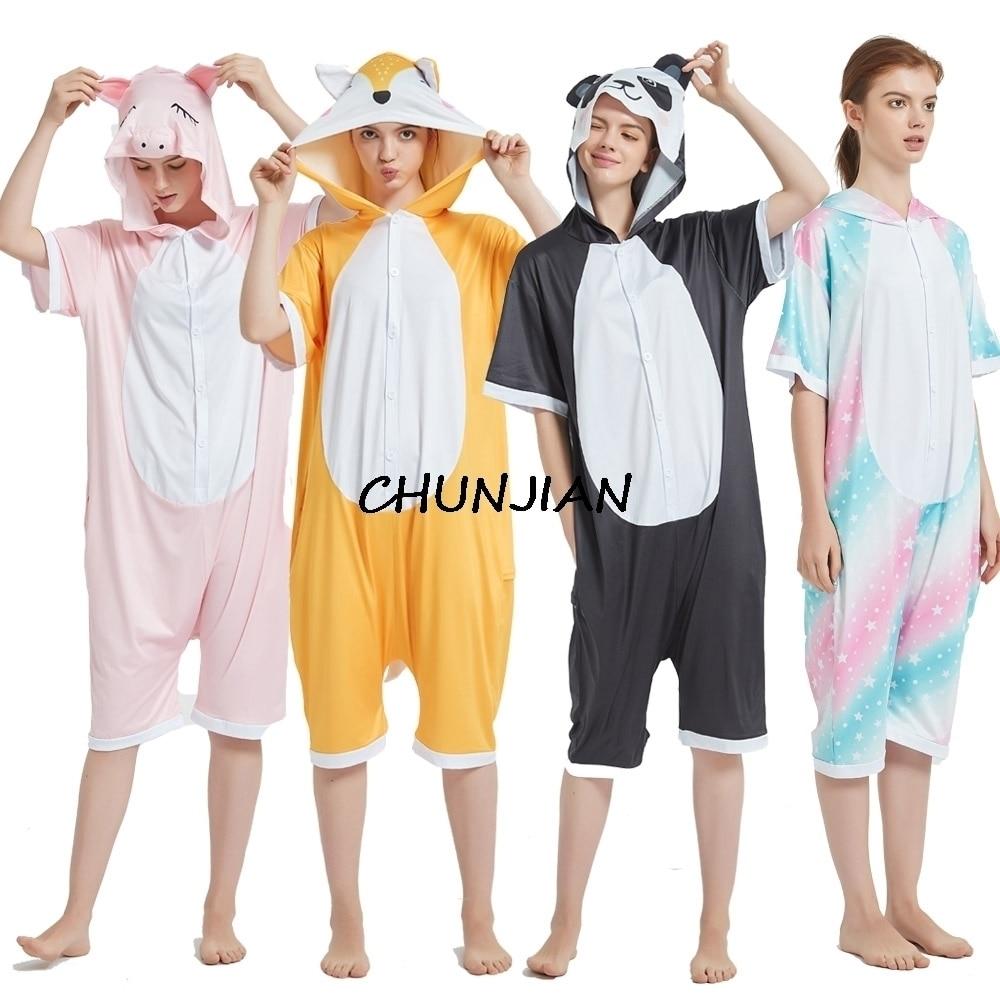 Children Summer Short Sleeve Spandex Animal Cartoon Panda Kigurumi Pajamas Children Rainbow Unicorn Pajama Skeleton Jumpsuit