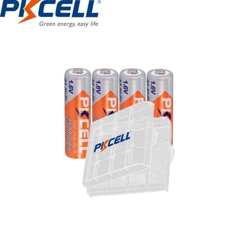 4PC PKCELL 2500mWh 1.6V Ni-Zn AA Rechargeable Batteries 2A Batteries Durable AA NI-ZN Battery with 1PC aa battery hold case palo 2 24 pcs rechargeable aa 2a battery 1 2v 3000mah aa 2a nimh original high capacity current batteries battery aa batteries