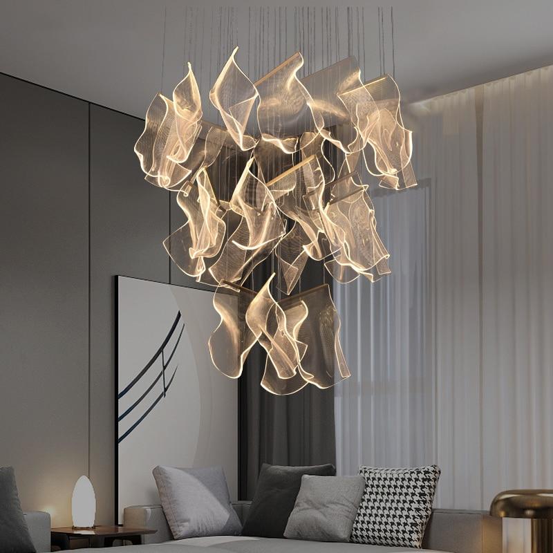 Postmodern Creative LED Chandelier Lighting Duplex Rotating Staircase Light Guide Hanging Lamp Living Room Adjustable Luminaires