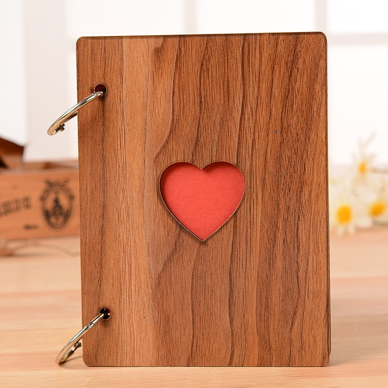 Álbum de madera de 6 pulgadas hecho a mano, álbum de enamorados de bebé con hojas sueltas, álbum de fotos DIY para bodas, álbum de fotos conmemorativo, álbum de fotos