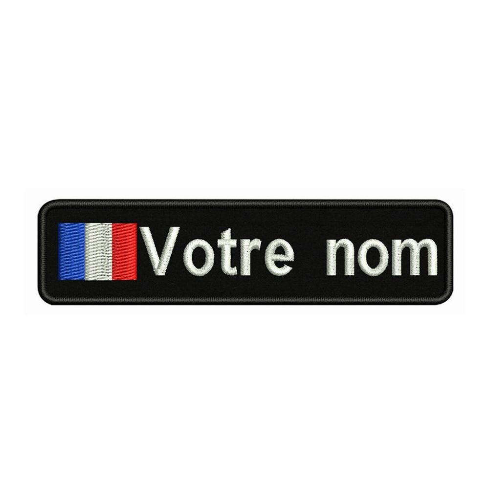 Francia bandera 10X2.5cm bordado nombre personalizado parche de texto rayas insignia planchar o Velcro parches de respaldo para la ropa sombrero de mochila