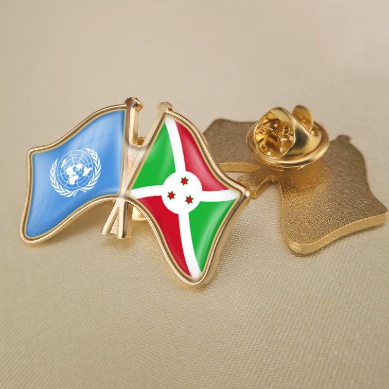 Prendedores de solapa con banderas de doble amistad cruzados de las Naciones Unidas y burundí