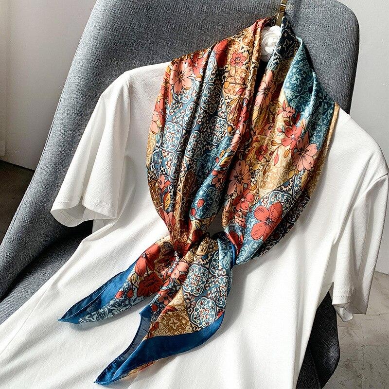 Bufanda ligera de seda sintética de lujo para mujer, bufanda cuadrada Multicolor, pañuelo estampado para mujer, chal para cuello, bufanda decorativa Echarpe