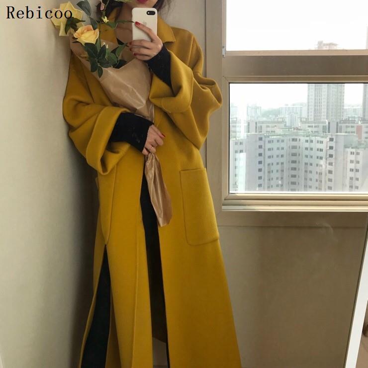 Abrigo de lana elegante para Mujer, cárdigan de venda larga de lana,...