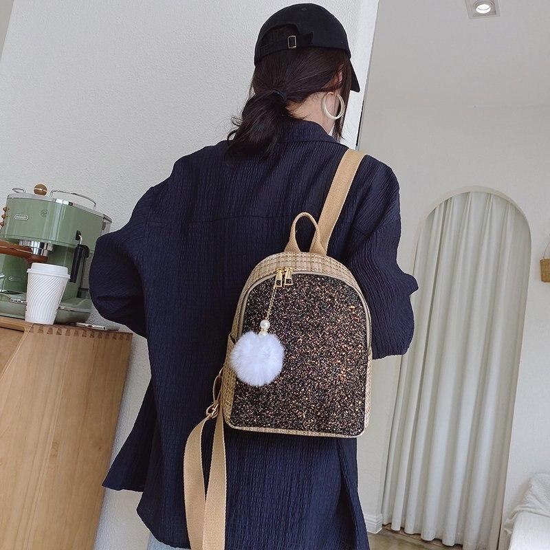 Женский соломенный Плетеный рюкзак, повседневный модный тканевый ранец с блестками для девочек-подростков, школьная сумка на ремне