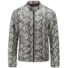 European Fashion Snakeskin Leather Jackets For Mens Streetwear Brand Clothing Imported Online Store