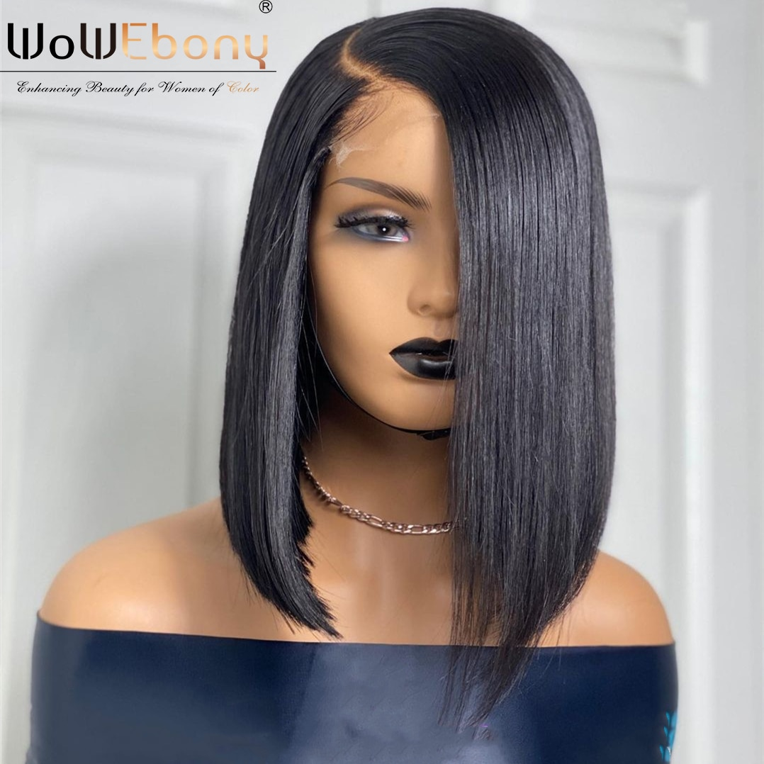 WoWEbony Straight Bob Lace Front Wig Brazilian Silky Straight Remy 13X1 T Part Lace Frontal Wig Pre Plucked Shory Wigs 180%