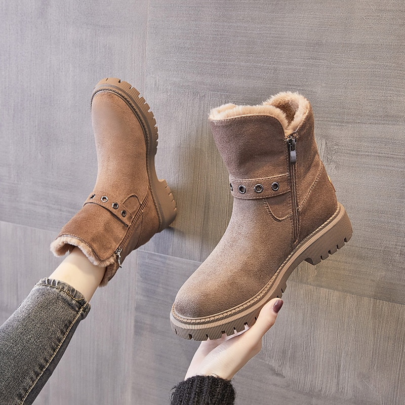 Winter Snow Boots Warm Fur Shoes 2020 High Quality Snow Boots Women Platform Ankle Boots Women Botas Mujer B351 prowow new high quality genuine leather lace up women winter boots sexy platform boots chunky heel boots botas mujer