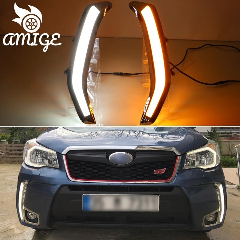 DNO Car LED Daytime Running Lights For Subaru Forester 2013 2014 2015 - 2018 12V Auto DRL Yellow Turn Signal Daylights Foglamp