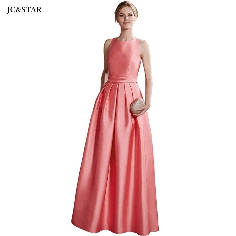 Bruidmeisje jurk de mujer-Vestido largo de honor, cuello redondo satinado, espalda cruzada,...