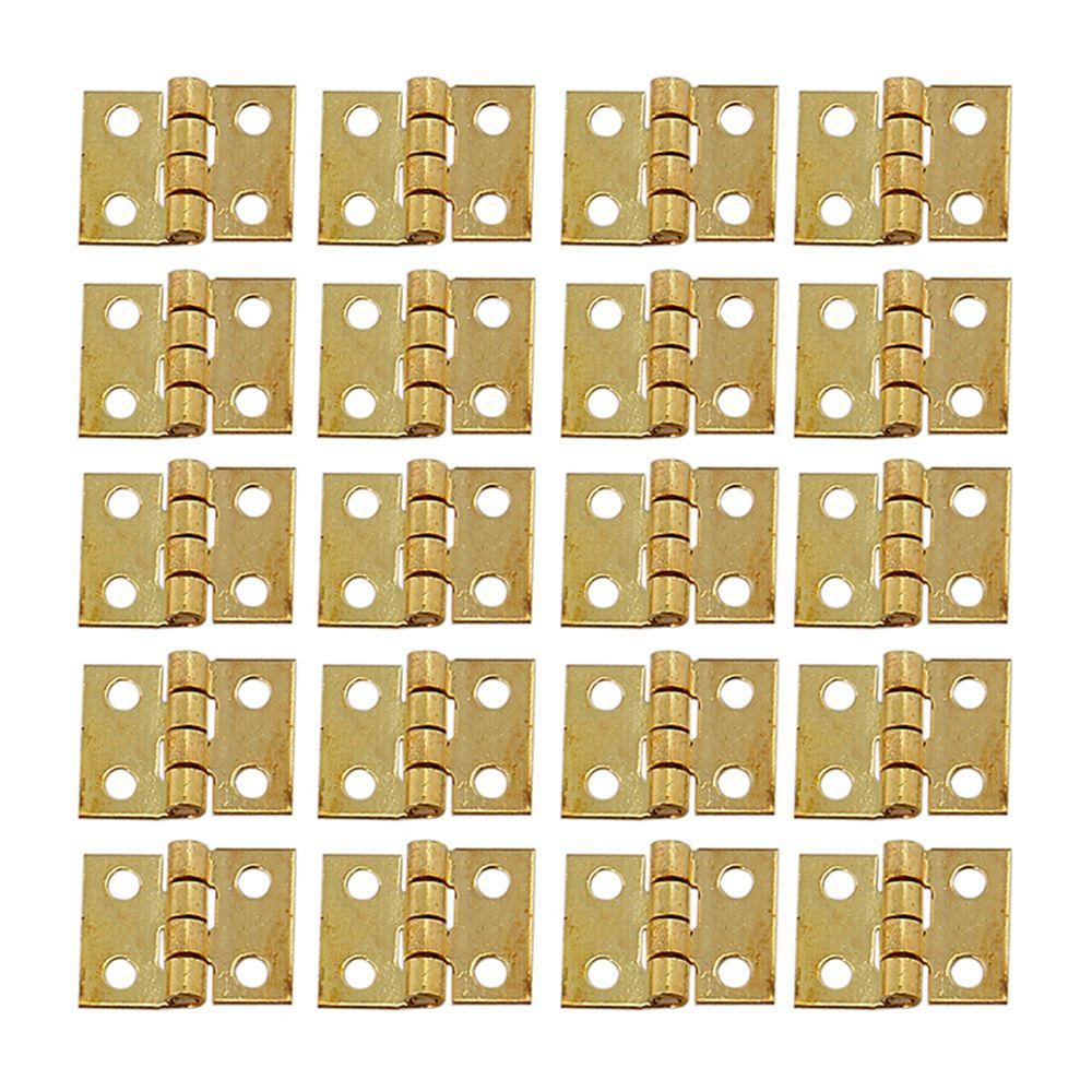 30 Uds 10*8mm Mini bisagra de Metal dorada para 1/12 casa armario en miniatura muebles bisagra de latón casa de muñecas armario en miniatura armario