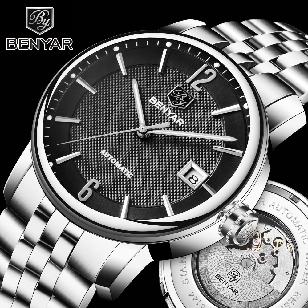 BENYAR Top Brand Luxury Mens Watches Business Full steel Fashion Casual Waterproof Automatic Watch Men's Clock Relogio Masculino