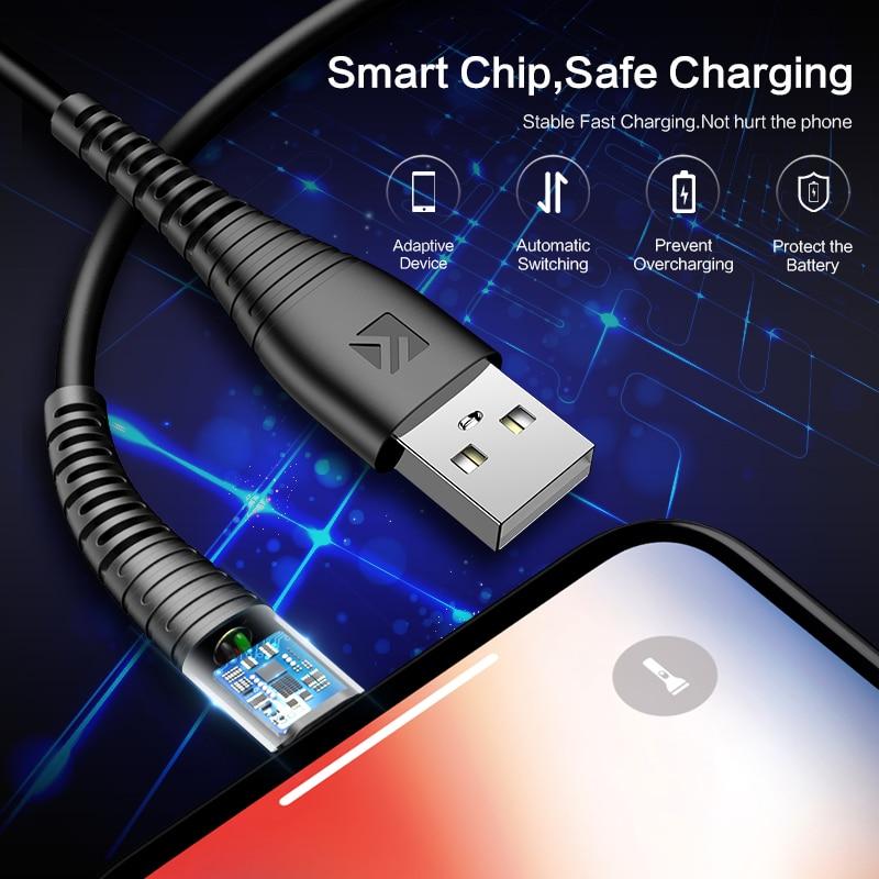 Floveme iluminação usb cabo para iphone 6 7 8 plus telefone carregador rápido cabo para iphone xr x xs iluminação usb carregamento de dados cabos