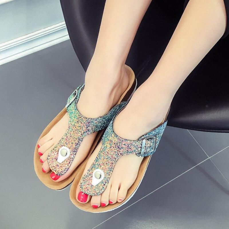 Сандалии и тапочки, женские Вьетнамки, расшитые блестками, тапочки, пляжные шлепанцы модная обувь прочные и удобные Горячая распродажа!