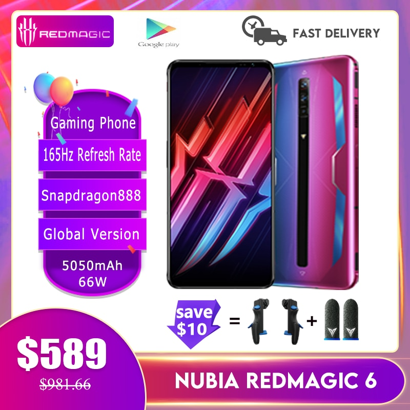 New Nubia Red Magic 6/ 6Pro Global Version Gaming Phone 165Hz Refresh Rate Snapdragon888 66W 5050mAh